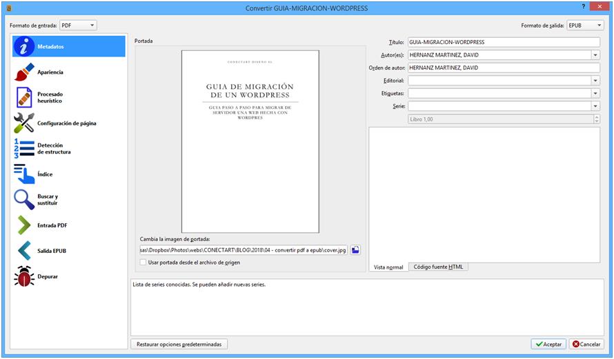 Cómo convertir pdf a ePub